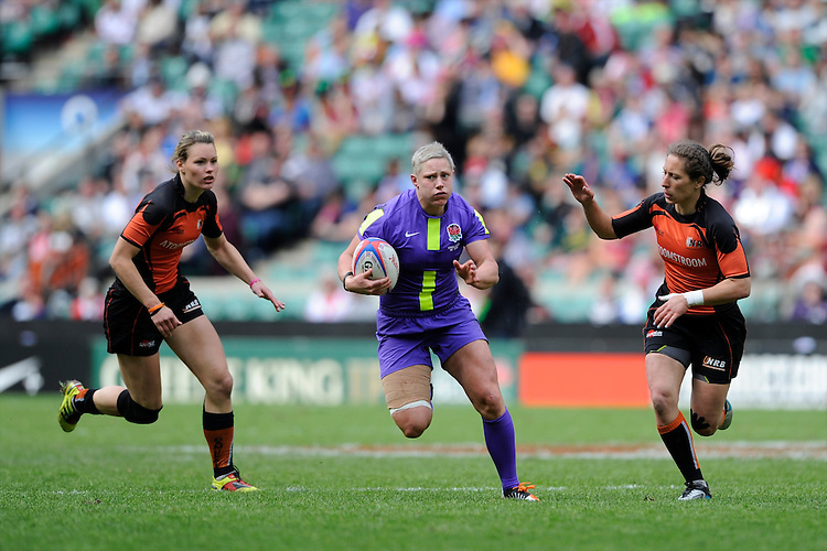 Heather Fisher of England in action during the iRB Marriott London Sevens at Twickenham on Sunday 13th May 2012 (Photo by Rob Munro)