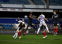 17th February 2021; The Kiyan Prince Foundation Stadium, London, England; English Football League Championship Football, Queen Park Rangers versus Brentford; Ivan Toney of Brentford misses heading the ball from a Brentford free kick