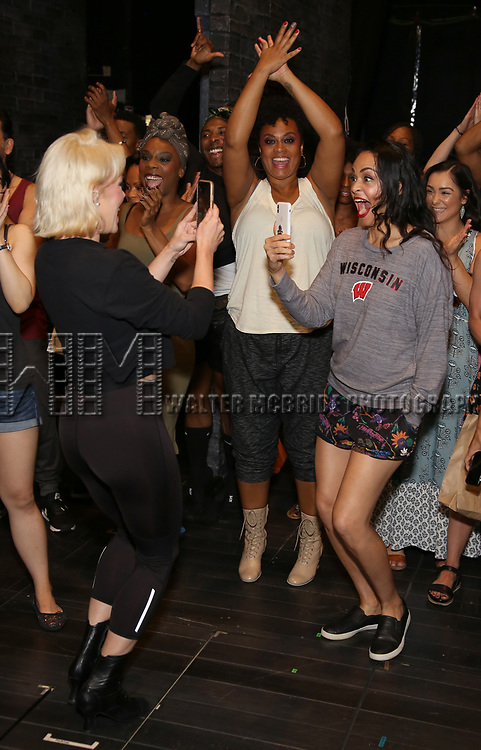 "Robyn Hurder, Jacqueline B. Arnold and Karen Olivo during the Broadway Opening Night Legacy Robe Ceremony honoring Bahiyah Hibah for  ""Moulin Rouge! The Musical"" at the Al Hirschfeld Theatre on July 25,2019 in New York City."