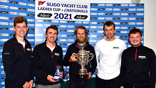 The Lads with the Ladies Cup. The Bicentenary of Sligo YC's Ladies Cup – the world's oldest perpetual sailing trophy - was celebrated with it being the award for the J/24 Nationals 2021 last weekend, and the winning boat Headcase – the defending champion – is an all-Ireland project, with (left to right) Cillian Dickson (Lough Ree YC & Howth YC), Sam O'Byrne (Howth YC) Louis Mulloy (Mayo SC) with the famous Cup, Marcus Ryan, and Ryan Glynn