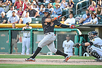 Jonathan Villar (45) of the Fresno Grizzlies at bat against the Salt Lake Bees in Pacific Coast League action at Smith's Ballpark on June 13, 2015 in Salt Lake City, Utah.  (Stephen Smith/Four Seam Images)