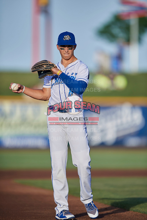 Manny Olloque (8) of the Omaha Storm Chasers during the game against the Round Rock Express at Werner Park on May 27, 2018 in Papillion , Nebraska. Round Rock defeated Omaha 8-3. (Stephen Smith/Four Seam Images)
