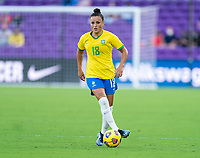 ORLANDO, FL - FEBRUARY 18: Camila #18 of Brazil dribbles during a game between Argentina and Brazil at Exploria Stadium on February 18, 2021 in Orlando, Florida.