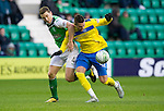 Hibs v St Johnstone...21.01.12.Marcus Haber and Paul Hanlon.Picture by Graeme Hart..Copyright Perthshire Picture Agency.Tel: 01738 623350  Mobile: 07990 594431