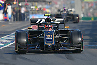 March 16, 2019: Kevin Magnussen (DEN) #20 from the Rich Energy Haas F1 Team leaves the pit to start the qualification session at the 2019 Australian Formula One Grand Prix at Albert Park, Melbourne, Australia. Photo Sydney Low