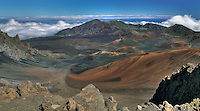 This is a classic view of HALEAKALA NATIONAL PARK on Maui in Hawai from the visitor centeri