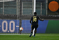 Football: Europa League - quarter final 2nd leg AS Roma vs Ajax, Olympic Stadium. Rome, Italy, March 15, 2021.<br /> Ajax's Bryan Brobbey looks the ball entering in the net  after scoring during the Europa League football match between Roma at Rome's Olympic stadium, Rome, on April 15, 2021.  <br /> UPDATE IMAGES PRESS/Isabella Bonotto