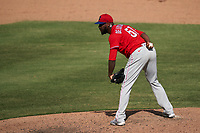 Philadelphia Phillies pitcher Enyel De Los Santos (51) during a Major League Spring Training game against the Baltimore Orioles on March 12, 2021 at the Ed Smith Stadium in Sarasota, Florida.  (Mike Janes/Four Seam Images)