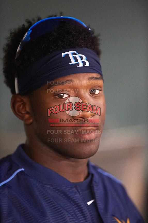 Charlotte Stone Crabs Justin Williams (4) in the dugout during a game against the Clearwater Threshers on April 12, 2016 at Bright House Field in Clearwater, Florida.  Charlotte defeated Clearwater 2-1.  (Mike Janes/Four Seam Images)
