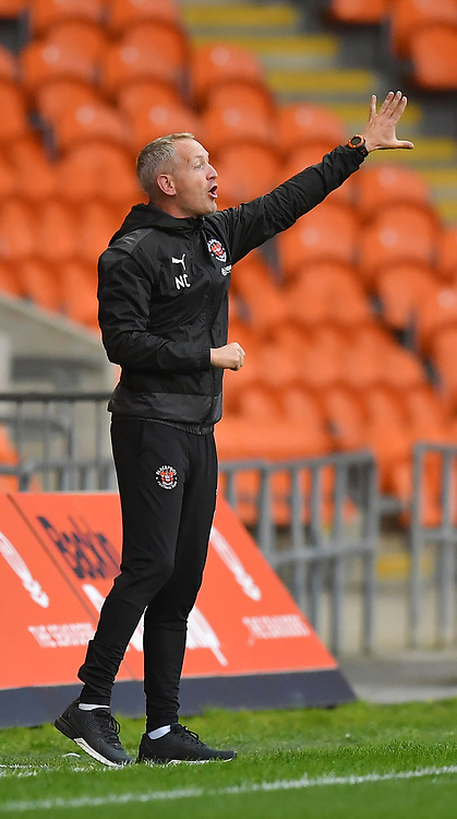 Blackpool manager Neil Critchley <br /> <br /> Photographer Dave Howarth/CameraSport<br /> <br /> EFL Trophy Northern Section Group G - Blackpool v Barrow - Tuesday 8th September 2020 - Bloomfield Road - Blackpool<br />  <br /> World Copyright © 2020 CameraSport. All rights reserved. 43 Linden Ave. Countesthorpe. Leicester. England. LE8 5PG - Tel: +44 (0) 116 277 4147 - admin@camerasport.com - www.camerasport.com
