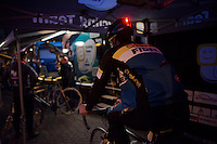 Lazer helmets with integrated lights for the Telenet-Fidea riders for this nocturnal race<br /> <br /> Superprestige Diegem 2015