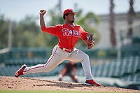 Philadelphia Phillies pitcher Robinson Martinez (64) delivers a pitch during a Florida Instructional League game against the Baltimore Orioles on October 4, 2018 at Ed Smith Stadium in Sarasota, Florida.  (Mike Janes/Four Seam Images)