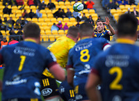 Mitch Hunt receives a pass during the Super Rugby Aotearoa match between the Hurricanes and Highlanders at Sky Stadium in Wellington, New Zealand on Sunday, 12 July 2020. Photo: Dave Lintott / lintottphoto.co.nz