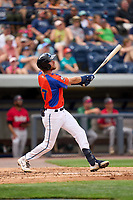 Las Calaveras de West Michigan Gage Workman (27) bats during a game against the Fort Wayne TinCaps on August 22, 2021 at LMCU Ballpark in Comstock Park, Michigan.  (Mike Janes/Four Seam Images)