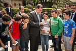 Mariano Rajoy signing autographs to children during the presentation of candidates to the Congress of Deputies in Madrid. May 24, 2016. (ALTERPHOTOS/Borja B.Hojas)