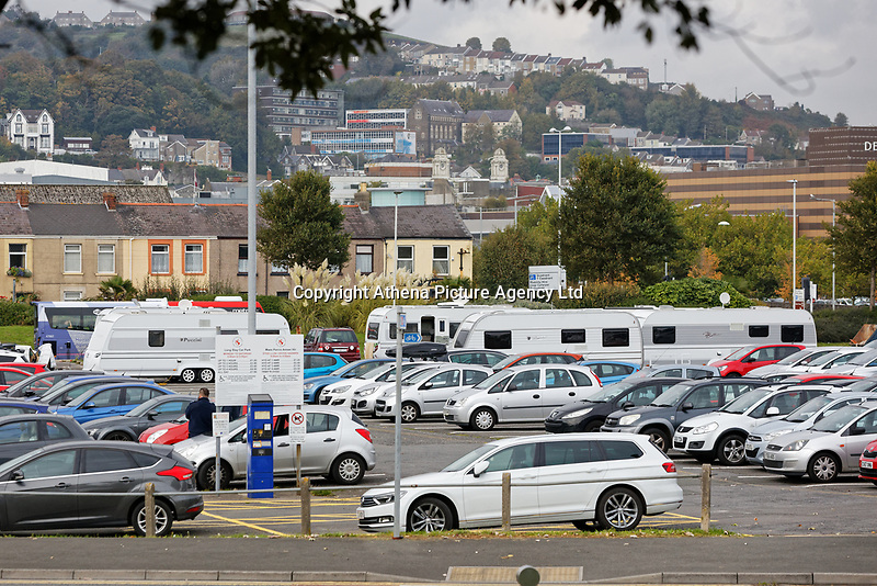 A number of caravans have parked at the car park opposite the Civic Centre in Swansea, Wales, UK. Friday 05 October 2018