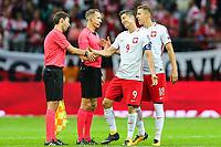 04.09.2017, Warszawa, pilka nozna, kwalifikacje do Mistrzostw Swiata 2018, Polska - Kazachstan, Robert Lewandowski (POL), Jan Bednarek i sedziowie, Poland - Kazakhstan, World Cup 2018 qualifier, football, fot. Tomasz Jastrzebowski / Foto Olimpik<br /><br />POLAND OUT !!! *** Local Caption *** +++ POL out!! +++<br /> Contact: +49-40-22 63 02 60 , info@pixathlon.de