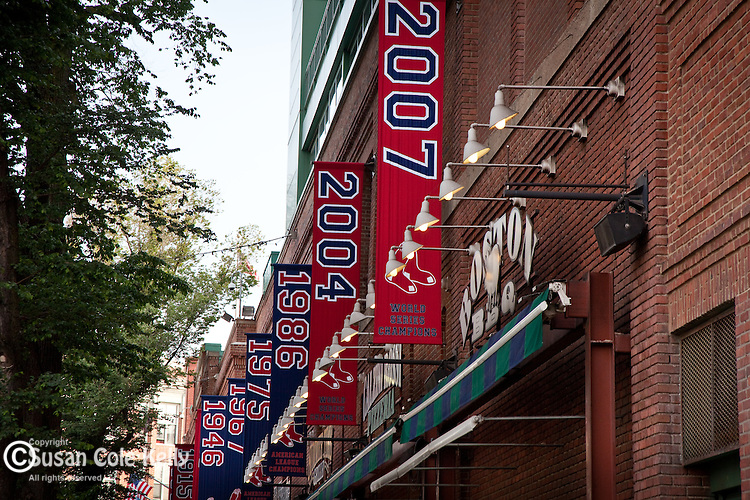 World Series banners decorate Fenway Park, home of the Boston Red Sox, Boston, MA, USA