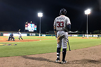 Mississippi Braves Joey Meneses (33) on deck during a game against the Montgomery Biscuits on April 26, 2017 at Montgomery Riverwalk Stadium in Montgomery, Alabama.  Montgomery defeated Mississippi 5-2.  (Mike Janes/Four Seam Images)
