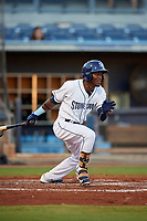 Charlotte Stone Crabs second baseman Vidal Brujan (2) hits a single during a game against the Bradenton Marauders on August 6, 2018 at Charlotte Sports Park in Port Charlotte, Florida.  Charlotte defeated Bradenton 2-1.  (Mike Janes/Four Seam Images)