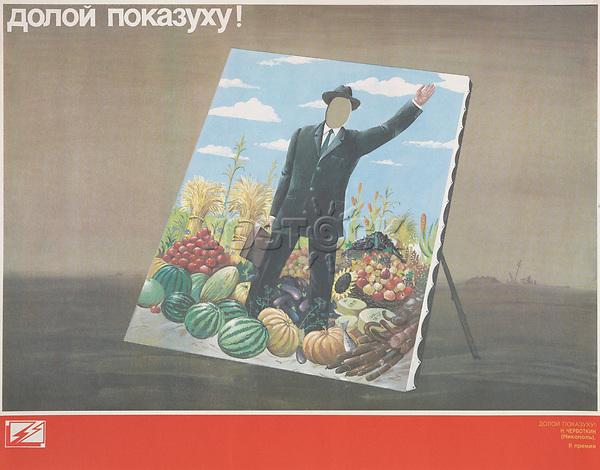 Doloi pokazukhu!; Down with showing off! 1980-1989<br /> Perestroika Era Poster series, circa 1980-1989