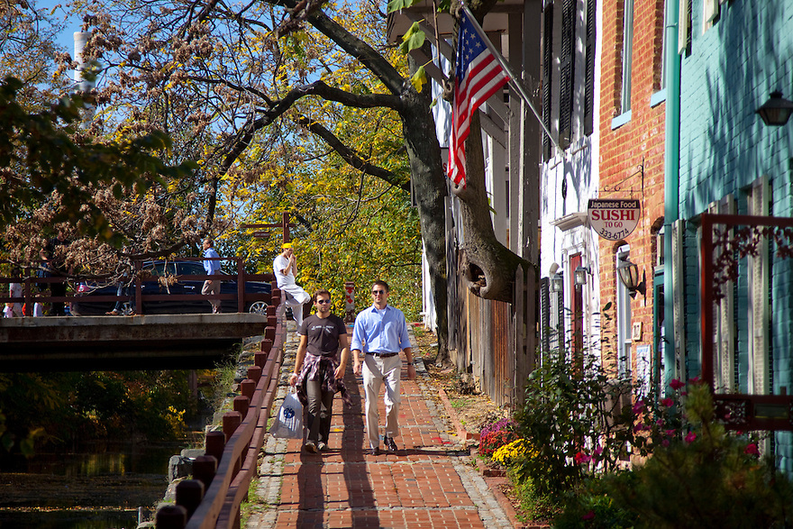 Georgetown is a neighborhood located in the Northwest quadrant of Washington, D.C., along the Potomac River waterfront. The area is well known for its high-end shops, bars, and restaurants, as well as tree lined streets with painted brick row houses.