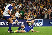 17th July 2021; Brisbane, Australia;  France's Pierre-Louis Barassi breaks through to score a try during the Australia versus France, 3rd Rugby Test at Suncorp Stadium, Brisbane, Australia on Saturday 17th July 2021.
