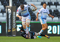 24th April 2021; Liberty Stadium, Swansea, Glamorgan, Wales; Rainbow Cup Rugby, Ospreys versus Cardiff Blues; James Ratti of Cardiff Blues is tackled by Adam Beard of Ospreys