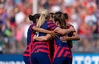 EAST HARTFORD, CT - JULY 5: Carli Lloyd #10 of the USWNT celebrates her goal with teammates during a game between Mexico and USWNT at Rentschler Field on July 5, 2021 in East Hartford, Connecticut.