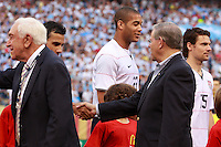 Senator Bob Menendez of New Jersey shakes hands with United States midfielder Pablo Mastroeni (25). The men's national teams of the United States and Argentina played to a 0-0 tie during an international friendly at Giants Stadium in East Rutherford, NJ, on June 8, 2008.