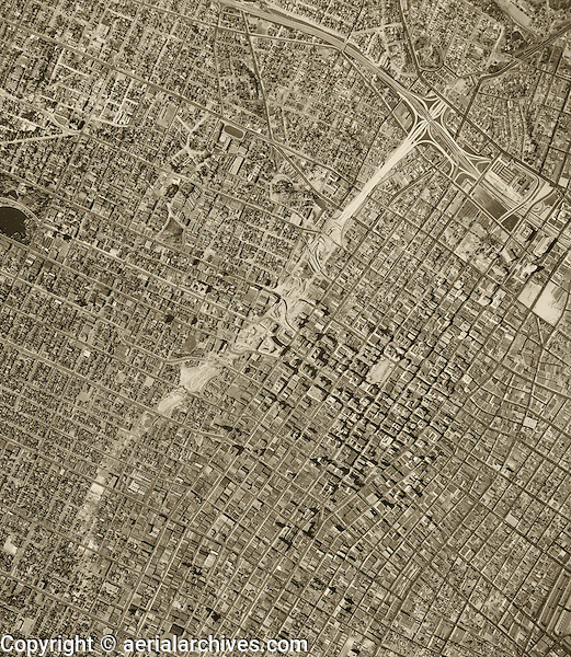 historical aerial photograph freeway construction Los Angeles, California, 1952