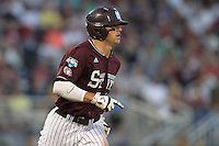 Mississippi State Bulldogs outfielder Hunter Renfroe #34 during Game 6 of the 2013 Men's College World Series between the Indiana Hoosiers and Mississippi State Bulldogs at TD Ameritrade Park on June 17, 2013 in Omaha, Nebraska. (Brace Hemmelgarn/Four Seam Images)