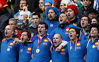 Rugby, Torneo Sei Nazioni: Italia vs Francia. Roma, stadio Olimpico, 15 marzo 2015.<br /> French fans sing their national anthem prior to the start of the Six Nations championship rugby match between Italy and France at Rome's Olympic stadium, 15 March 2015.<br /> UPDATE IMAGES PRESS/Riccardo De Luca
