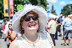 TORONTO, ON - JULY 03:  The finest in millinery was on display at Queen's Plate Day at Woodbine Race Course on July 3, 2016 in Toronto, Ontario. (Photo by Victor Biro/Eclipse Sportswire/Getty Images)