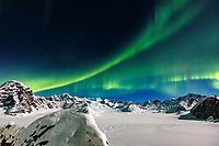 Aurora Borealis / Northern Lights over the Alaska Range in the Ruth Amphitheater