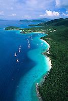 Aerial view of Leinster Bay<br /> Virgin Islands National Park<br /> St. John, U.S. Virgin Islands