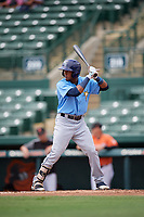 Tampa Bay Rays Wander Franco (4) at bat during an Instructional League game against the Baltimore Orioles on October 2, 2017 at Ed Smith Stadium in Sarasota, Florida.  (Mike Janes/Four Seam Images)