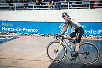 Marianne Vos (NED/Jumbo Visma) finishing 2nd at the Roubaix velodrome<br /> <br /> Inaugural Paris-Roubaix Femmes 2021 (1.WWT)<br /> One day race from Denain to Roubaix (FRA)(116.4km)<br /> <br /> ©kramon