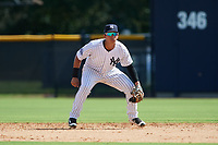 New York Yankees second baseman Oswaldo Cabrera (6) during an Instructional League game against the Baltimore Orioles on September 23, 2017 at the Yankees Minor League Complex in Tampa, Florida.  (Mike Janes/Four Seam Images)