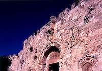 Zion Gate to the Old City of Jerusalem (Israel) clearly showing thousands of bullet holes from the 6 Day War in 1967.