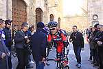 Samuel Sanchez Gonzalez (ESP) BMC Racing Team makes his way to sign on before the start of the 2015 Strade Bianche Eroica Pro cycle race 200km over the white gravel roads from San Gimignano to Siena, Tuscany, Italy. 7th March 2015<br /> Photo: Eoin Clarke www.newsfile.ie