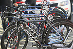 IAM Cycling team Scott bikes lined up outside the team bus at sign on before the start of the 113th edition of the Paris-Roubaix 2015 cycle race held over the cobbled roads of Northern France. 12th April 2015.<br /> Photo: Eoin Clarke www.newsfile.ie
