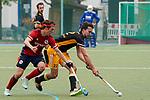 v.li.: Raphael Hartkopf (MHC, 6), Niclas Schippan (HTHC, 22), Zweikampf, Spielszene, Duell, duel, tackle, tackling, Dynamik, Action, Aktion, 01.05.2021, Mannheim  (Deutschland), Hockey, Deutsche Meisterschaft, Viertelfinale, Herren, Mannheimer HC - Harvestehuder THC <br /> <br /> Foto © PIX-Sportfotos *** Foto ist honorarpflichtig! *** Auf Anfrage in hoeherer Qualitaet/Aufloesung. Belegexemplar erbeten. Veroeffentlichung ausschliesslich fuer journalistisch-publizistische Zwecke. For editorial use only.