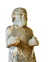 Pictures & images of the South Gate Hittite sculpture statue of Hittite Storm God Tarhunzas ( Tarḫunz Tarḫunna or in Hurrian Teshub or in Phoenician Baal Krntrys ). 8th century BC. Karatepe Aslantas Open-Air Museum (Karatepe-Aslantaş Açık Hava Müzesi), Osmaniye Province, Turkey. Against white background