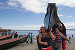 Canoe Journey, Paddle to Nisqually, 2016, Quinault Indian Nation, Queets Tribe, canoes, Port Townsend, Fort Worden, Olympic Peninsula, Puget Sound, Salish Sea, Washington State, USA,
