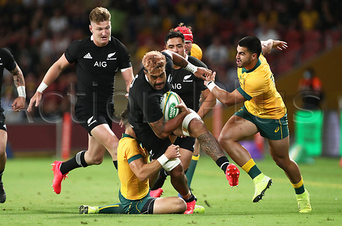7th November 2020, Brisbane, Australia; Tri Nations International rugby union, Australia versus New Zealand;  Akira Ioane  of The Allblacks in action