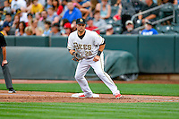 Daniel Nava (20) of the Salt Lake Bees on defense against the Round Rock Express in Pacific Coast League action at Smith's Ballpark on August 15, 2016 in Salt Lake City, Utah. Round Rock defeated Salt Lake 5-4.  (Stephen Smith/Four Seam Images)