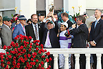 LOUISVILLE, KY - MAY 07: Nyquist, #13 winning connections, trainer Doug O'Neill, owner Paul Reddam, jockey Mario Gutierrez, at 142nd running Kentucky Derby Stakes at Chuchill Downs on May 7, 2016, in Louisville, KY. (Photo by Sue Kawczynski/Eclipse Sportswire/Getty Images)