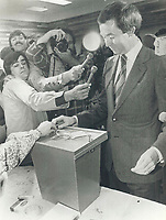 1979 FILE PHOTO - ARCHIVES -<br /> <br /> Joe Clark, Conservative leader and prime ministerial hopeful, casts his ballot<br /> <br /> Bezant, Graham<br /> Picture, 1979,<br /> <br /> 1979,<br /> <br /> PHOTO : Graham Bezant - Toronto Star Archives - AQP