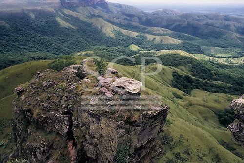 Chapada dos Guimaraes, Brazil. Foothills rolling away from the edge of the highland plateau. Mato Grosso State.